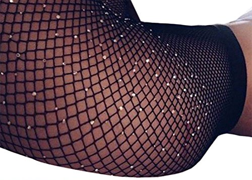 Women's High Waist Fishnet Stockings Sparkle Rhinestone Tights of MERYLURE (One Size, White (Wear Black Tights)