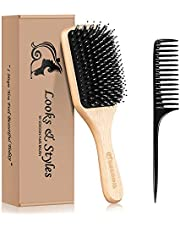 Hair Brush, Sosoon Boar Bristle Paddle Hairbrush for Long Thick Curly Wavy Dry or Damaged Hair, Reducing Hair Breakage and Frizzy No More Tangle, Giftbox Tail Comb Inclued