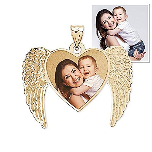 (New Angel Heart Picture Pendant 3/4 Inch x 5/8 Inch - 10K Yellow)