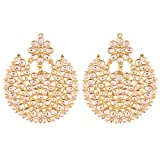 I Jewels Indian Jewelry Kundan Earrings with Pearl Outline for Women ED14W (White)