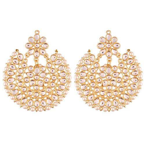 I Jewels Indian Bollywood Jewelry Round Ethnic Kundan Bridal Earrings for Women
