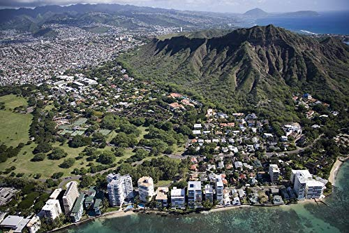 Home Comforts Framed Art for Your Wall Oahu USA Waikiki Beach Hawaii Aerial View Honolulu Vivid Imagery 10 x 13 Frame