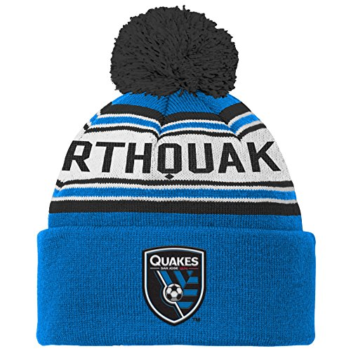 MLS San Jose Earthquakes R S8ALR Youth Boys Cuffed Knit Hat With Pom, One Size (8), Master (San Jose Hats)