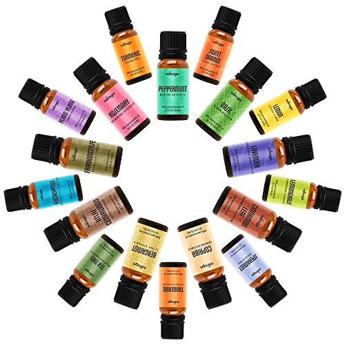 Natrogix Nirvana Therapeutic-Grade Aromatherapy Essential Oil Set - 100% Pure Essential Oils - 18/10ml Incl. Lavender, Peppermint, Tea Tree, Eucalyptus and More w/Free E-Book