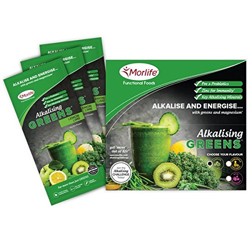 Morlife Alkalising Greens Lemon Lime Handy Pack 14 x 10g – 19 Super Greens, Fruits and Vegetables, Pre & Probiotics, Key Alkalising Minerals, Vegan Greens Powder, 14 Single Serves, LLHP
