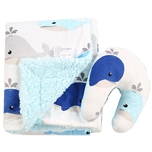 Baby Blanket and Pillow by Bos – Breathable, Soft, Plush, Warm - Premium Quality–Cozy, Cute, Fleece and Flannel - Perfect for Cuddle Time or For Stroller (Blue) ()