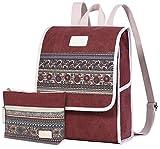 ArcEnCiel Women Canvas Backpack Laptop Vintage College School Rucksack Bag with Purse (Maroon)