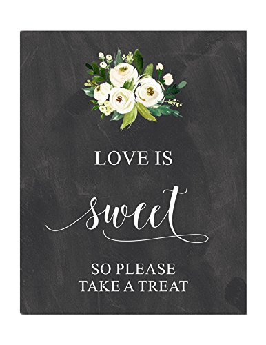 Love Is Sweet, Take a Treat, Candy Bar Sign, Chalkboard Sign, White Flowers, Candy Buffet, Cream Flowers, ()