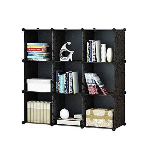 Stackable Storage Organizer (KOUSI 3-tier Storage Cube Closet Organizer Shelf 9-Cube Cabinet Bookcase without doors Black)