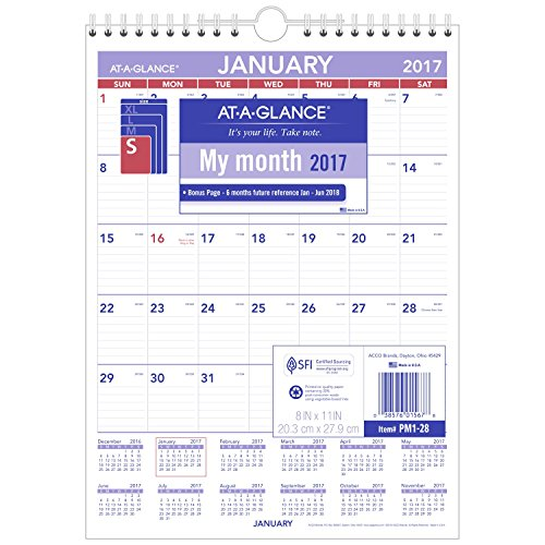 "AT-A-GLANCE Wall Calendar 2017, Monthly, 8 x 11"", Mini-Size, Ruled, Wirebound (PM1-28)"