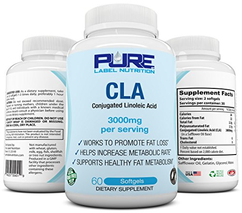 PURE CLA Supplement 3000mg (Highest Dose Available) Best Fat Burner + Weight Loss Supplement, All Natural Conjugated Linoleic Acid, Premium CLA Softgels Physique Enhancing Formula CLA Men/Women