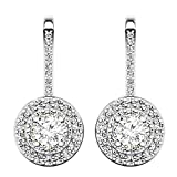 1.05 Carat (ctw) 10K White Gold Round White Diamond Ladies Halo Style Dangling Drop Earrings 1 CT