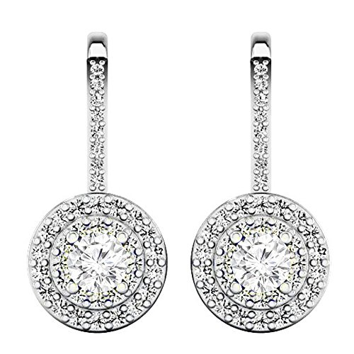 Dazzlingrock Collection 1.05 Carat (ctw) 10K Round White Diamond Ladies Halo Style Dangling Drop Earrings 1 CT, White Gold