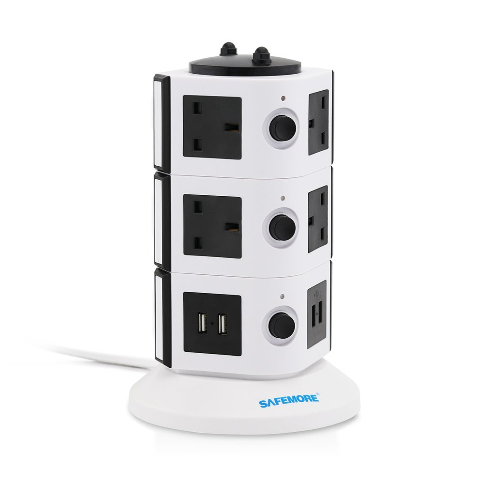 Safemore Extension Leads Surge Protectors 6 Way Outlet Sockets 4 USB(2.1A Output) Charging Ports Tower Power Strips with 6.5ft / 2M Extension Cable for Home Appliances(White+Black, 2L Series) SM-YG4U002-0709