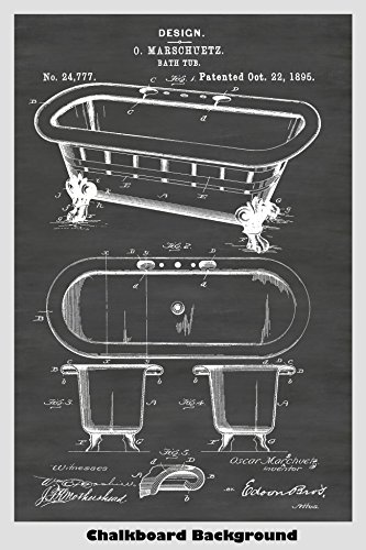 Antique Claw Bathtub Patent Print Art Poster: Choose From Multiple Size and Background Color ()