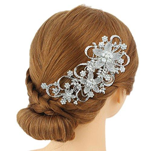 Ever Faith - Peigne à cheveux Autrichien Cristal Braut Fleur Clair Ton-Argent A08613-1