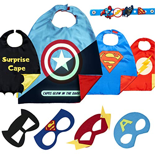 Dropplex Super Hero Capes for Kids Toys –Dress Up Clothes for Boys – Superhero Party Supplies Birthday – 4 Kids Costumes with Glow in The Dark Captain America -