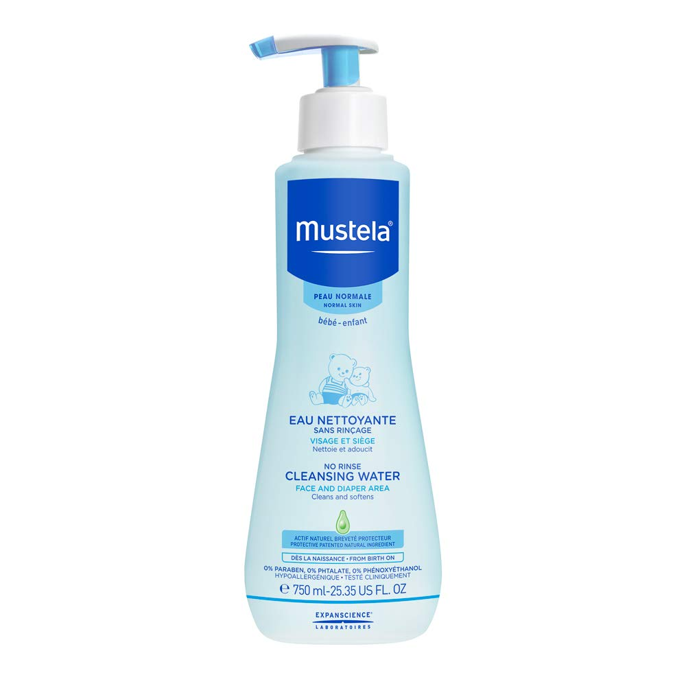 Mustela No Rinse Cleansing Water, Micellar Water Cleanser for Baby's Face, Body and Diaper, with Natural Avocado Perseose and Aloe Vera, Various Sizes