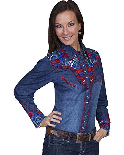 Scully Women's Floral Embroidered Western Shirt Denim Small ()
