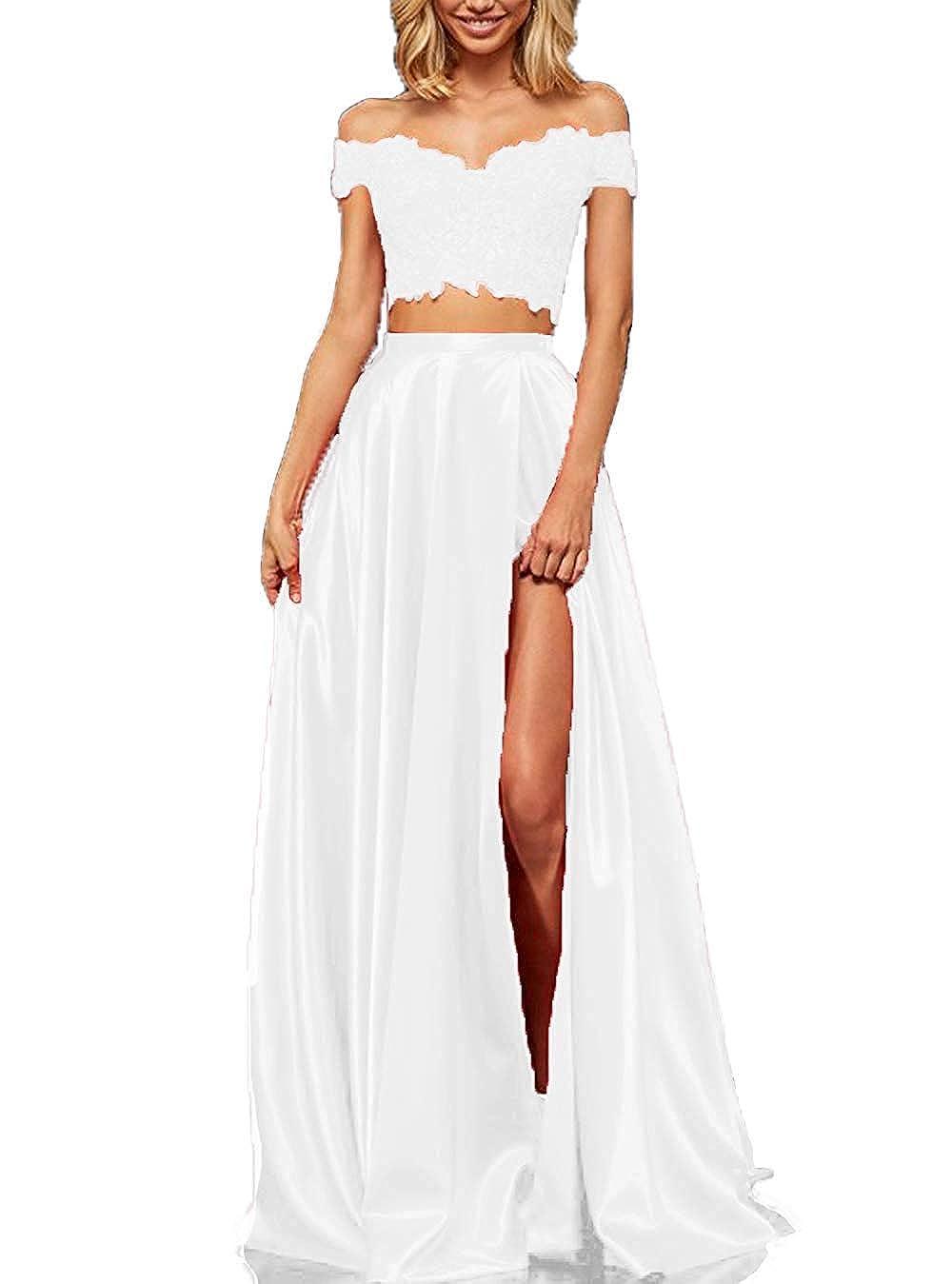 Ivory tutu.vivi Women's 2 Pieces Long Lace Satin Prom Dresses Off The Shoulder Party Evening Gown