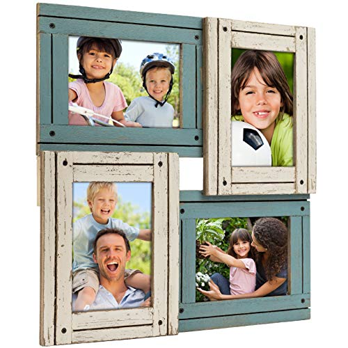 Collage Picture Frames from Rustic Distressed Wood: Holds Four 4x6 Photos: Ready to Hang. Shabby Chic, Driftwood, Barnwood, Farmhouse, Reclaimed Wood Picture Frame Collage (White & Turquoise) ()