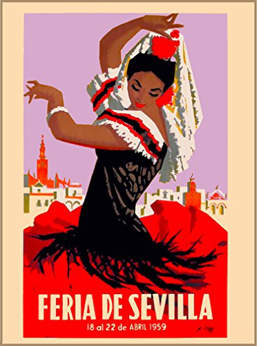 A SLICE IN TIME 1959 Feria de Sevilla Seville Spain Spanish Vintage Travel Advertisement Art Collectible Wall Decor Poster Print. Measures 10 x 13.5 inches -