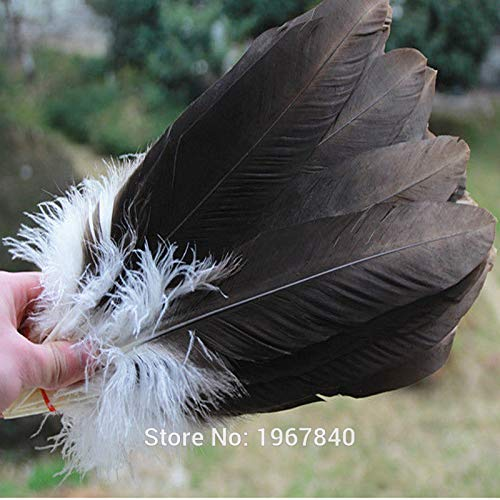 Maslin 100pcs Natural Color The Eagle Feathers 35-40 cm/14-16 inches Long Eagle Plumage handicrafts Halloween, Christmas, Performance -