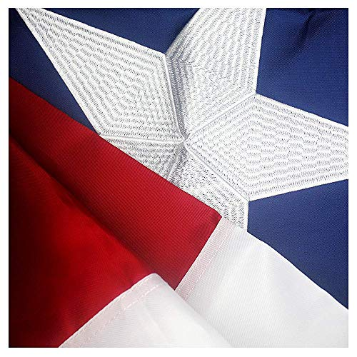(VSVO Texas Flag 3x5 Ft with 2-Sided Embroidered for Outside- Double Sewn Stripes and Brass Grommets, UV Protected, 3 by 5 USA Texas Flag)