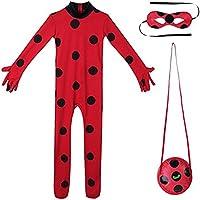 Nice sport Enfant Fille Déguisement Coccinelle Miraculeuse Combinaison à Manches Longues & Masque & Sac Bodysuit Cosplay Ladybug Costume de Carnaval 5-12 Ans (7-8 Ans, Vetement)
