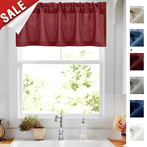 18 Inch Valance Curtains Semi Sheer Short Kitchen Curtains Privacy Half Window Curtains Casual Weave Sheer Cafe Curtains (54-inch x 18-inch, Burgundy Red, 1 pc)