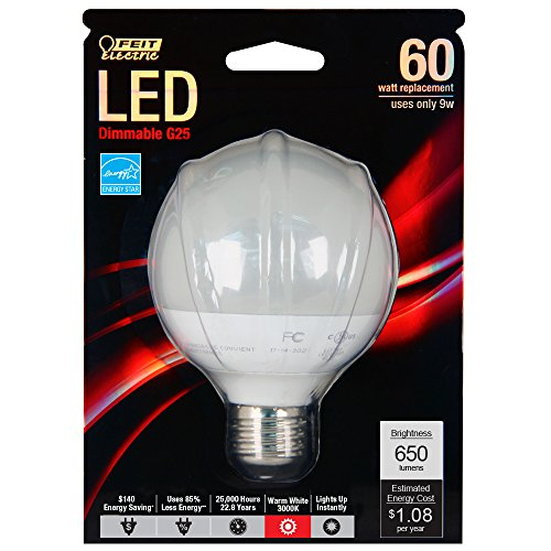 Frost Medium Base (Feit G25/650/LEDG2 60W Equivalent G25 Frost Medium Base LED Light)