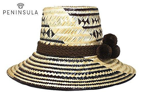 [Elegant 100% Iraka Palm Straw Hand-Knitted Wayuu Hand-Made Hat with Brown Patterns & Brown Wool PomPoms (Dark] (70s Ladies Fashion)
