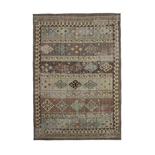 MonBeauTapis 122179 Marrakech Vintage Lignes Tapis Polypropyl/ène Heat Set Marron 110 x 160 cm