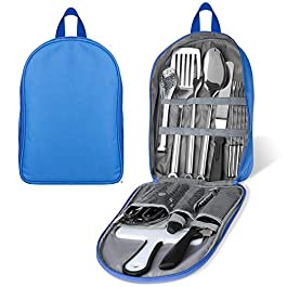 Portable Camping Kitchen Utensil Set, Stainless Steel Outdoor Cooking and Grilling Utensil Organizer Travel Set Perfect…
