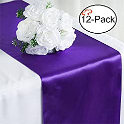 Tiger Chef 12-Pack Purple 12 x 108 inches Long Satin Table Runner for Wedding, Table Runners fit Rectange and Round Table Decorations for Birthday Parties, Banquets, Graduations, Engagements