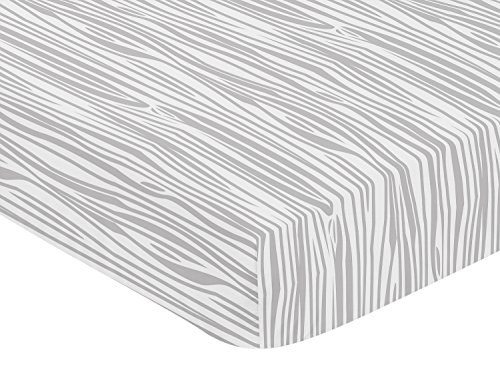 Sweet Jojo Designs Grey and White Woodland Wood Grain Baby or Toddler Fitted Crib Sheet for Rustic Patch Collection - Gray ()