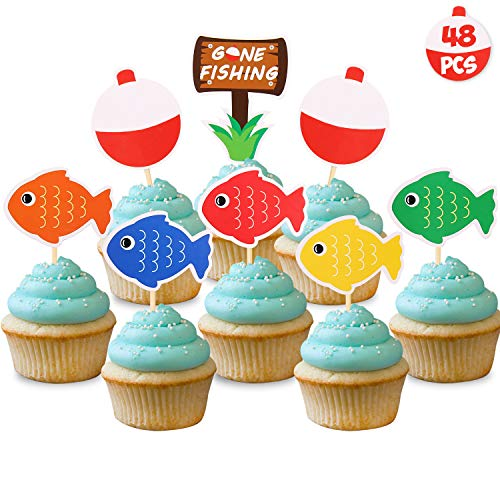 Yaaaaasss! Gone Fishing Bobber Cupcake Toppers Kids Little Fisherman Birthday Party Cake Decoration Supplies 48pcs (Fish Party Supplies)