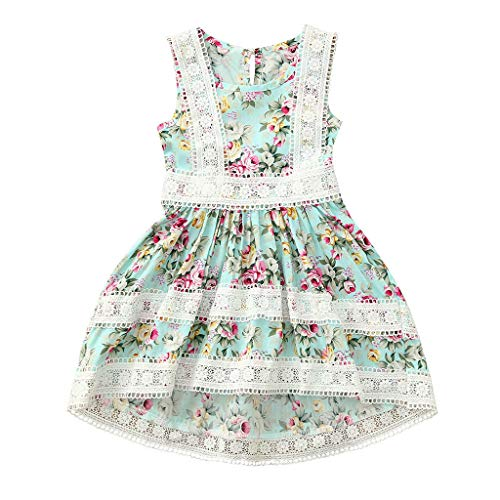 LiLiMeng 2019 New Toddler Kids Baby Girls Elegant Sleeveless Flower Print Lace Ruched Party Wedding Princess Dresses Green ()