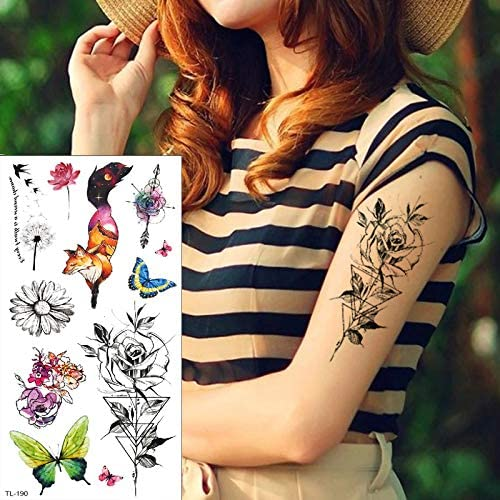 tzxdbh Tatuajes temporales Impermeables para Mujeres bocetos de ...