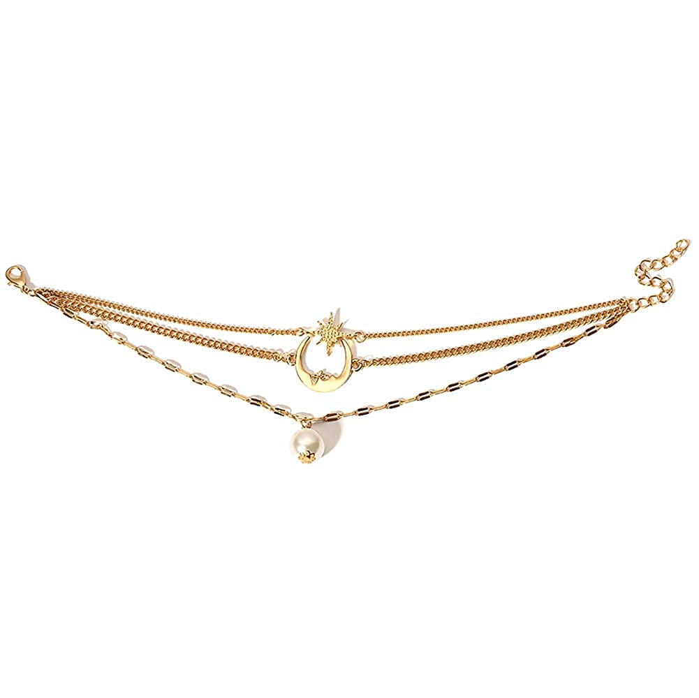 Star Moon Pearl Ankle Bracelet for Women Adjustable Barefoot Sandals Beach Foot Gift for Women Beach Anklet Bracelet CrazyPiercing Anklet Bracelet 3-Layer Chain Ankle Bracelets