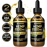 Hemp Oil Drops for Pets - 2 Pack 2000mg - Grown & Made in USA -...
