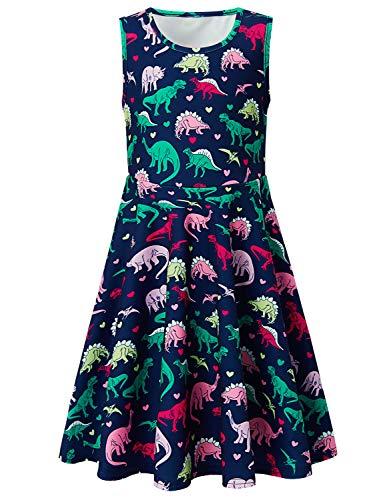 Girls Sleeveless Dress 3D Print Cute Animal Dinosaur Pattern Navy Blue Summer Dress Casual Swing Theme Birthday Party Sundress Toddler Kids Twirly Skirt, Dinosaur, 8-9T