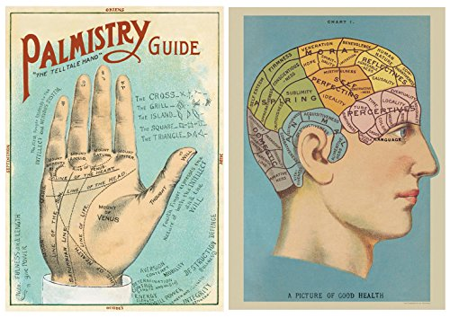 Phrenology and Palmistry Poster Pack of 2 Cavallini Vintage Art Posters/wrap