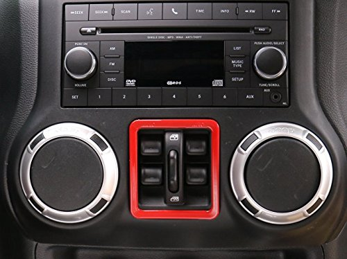 Opar Red Window Button Cover Trim for 2011-2018 Jeep JK Wrangler & Unlimited