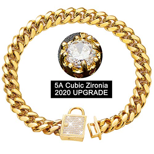 PRADOG Chain Dog Collar with Zirconia Locking 14mm Gold Metal 4 Sizes for All breeds