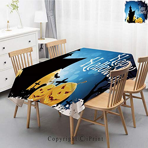 Washable Square Cotton Linen Print Tablecloth,Vintage Dinner Picnic Table Cloth Home Decoration Assorted Size,55x70 Inch,Halloween,Gothic Ancient Castle Moon Cruciform Graveyard Tree Silhouette Abstra
