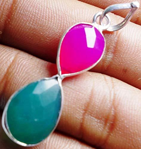 13.4CtsGreen & Pink Chalcedony13x16mm/10x13mmPendant Fashion Jewelry
