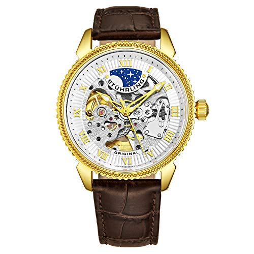 Stuhrling Original Men's 'Special Reserve' Automatic Stainless Steel and Leather Dress Watch, Color:Brown (Model: 835.03) (Skeleton Reserve)
