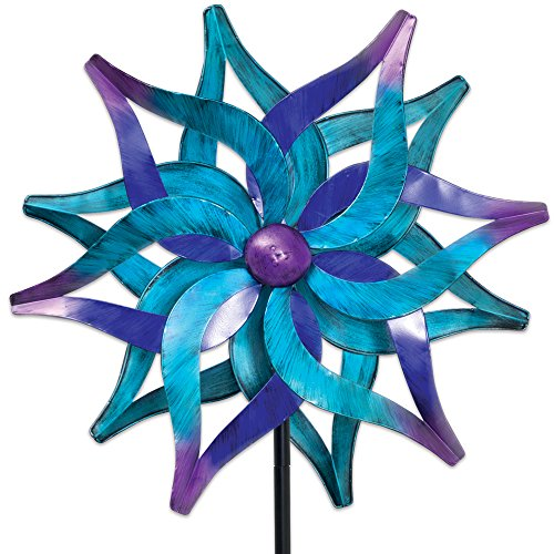 Bits and Pieces - Blue Delphinium Wind Spinner - Decorative Kinetic Wind Mill - Unique Outdoor Lawn and Garden Décor, Lawn Ornament