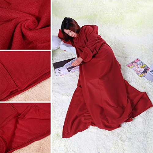 Jocestyle Supper Home Winter Warm Fleece Blanket Robe Cloak with Sleeves (Wine Red with Sleeve)